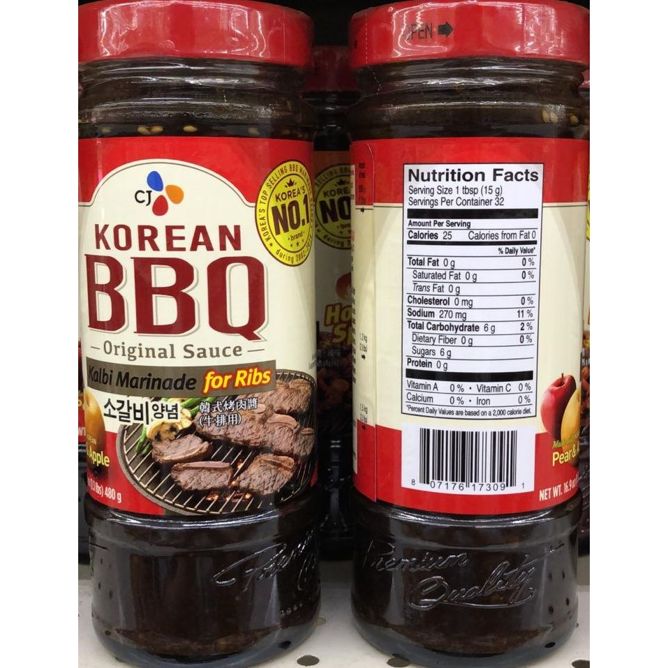 Cj Korean Bbq Original Sauce Kalbi Marinade For Ribs 16 9 Oz 480 G